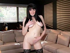 Busty brunette Samantha Bentley and her small boobs