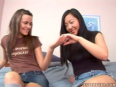 Teen Threeway with Two Blondes & Asian
