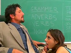 Professor Tommy Gunn is not going to let Trinity St. Clair pass her exam until she satisfies his cock