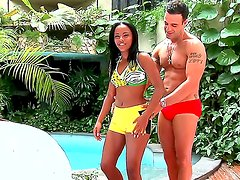 Sport couple Samira Ferraz and Roge Ferro make some workout by the pool and end with tough blowjob session