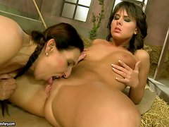 Mature babe with pigtails and sexy teen having lesbian sex