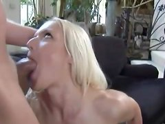 Blonde strips off lace panties for ass fuck