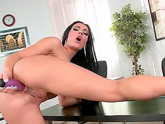 Beautiful minx satisfies her horny pussy with a massive toy