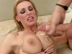 Tanya Tate gets her tits drizzled with warm jizz