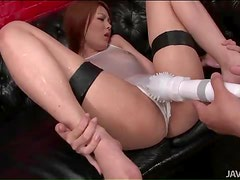 Wet Japanese girl played with by guys