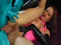 Latex chick fucked by spandex guy