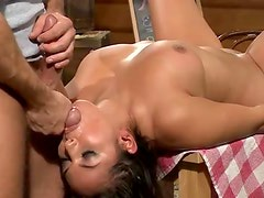 Chick face fucked in a restaurant