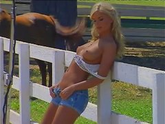Divine blondie Candice Cassidy gets naked in the farm