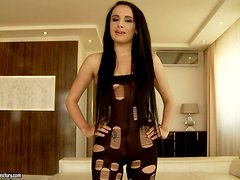 Petite Brunette Gets a Gaping Ass In MMF Interracial Threesome