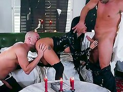 Joslyn James and Will Powers are getting their hard male rods pleasured by stunning milf Toni Ribas