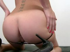 Riley Reid sucks a fat cock and enjoys riding it ardently