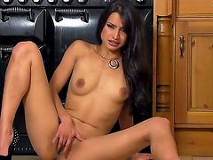 Amazing brunette Chelsea French shows her gorgeous body and masturbates