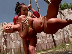Angelic is hanged and tortured so hard by Sabrina