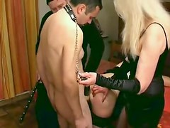 Couple makes their slaves suck and fuck