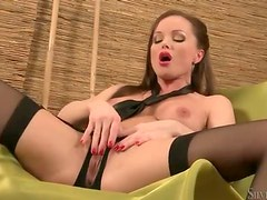 Silvia Saint in sexy lipstick and black lingerie