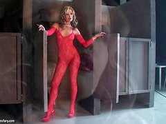 Backstage with Sophie Moone in her red bodysuit