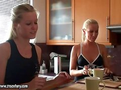Two blondes Sandy and Sophie talking in the kitchen