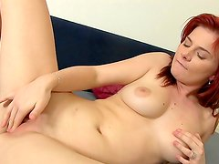 Redhead babe with pretty face Charlotte Reed fucking herself