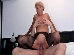 Nasty blonde mature whore goes crazy