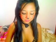 Cute darksome brown on web camera from Romania shows super hawt body dressed as slit cat