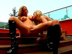 Hot outdoor scene with sexy and gorgeous girlfriends Britney D and Clara G