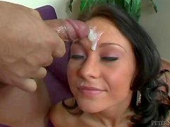 Johnny Fender mouth-fucks Victoria Rossi and cums on her face