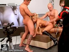 Janny the nasty blonde in high boots in gangbang video