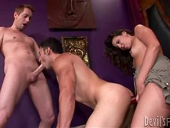 Bisexual guy gets fucked in his ass by a guy and girl