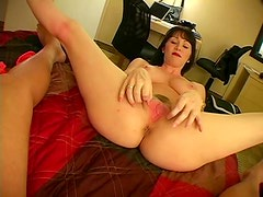 Busty milf teases cock with her hands
