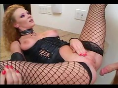 Roleplay sex in leather and fishnet stockings