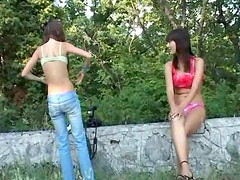 Slim Euro teens pose naked on the public road