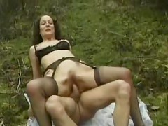 Butt fucking a bitch in the middle of the woods