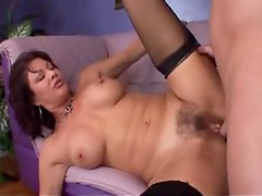 Hairy stockings mature slut ass fucked