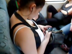 Cleavage in White Top & Black Bra Top on Train...