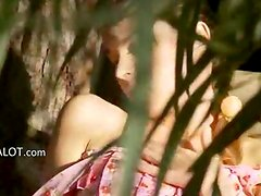 glamorous thin girl fingering in a wild