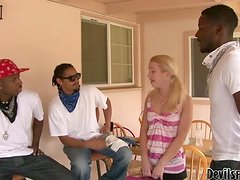 Skinny Blonde Gangbanged By Black Dudes From The Hood.