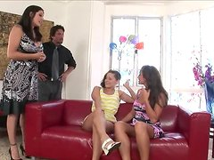 Brunette milf teaches her daughter how to suck and ride a dick