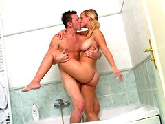Hot blonde with cute face Agata is fucking with Andrej