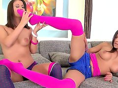 Henessy and Madlin are having intense pleasure in wild softcore session