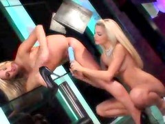 Blonde pussy eating and finger banging