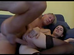 Girl in stockings laid in her asshole