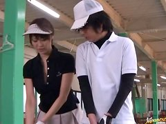 Japanese beautiful golf instructor is getting fucked in golfcourse.