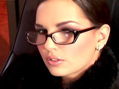 Slender Eve Angel is poking her shaved pussy