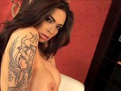 Tera Patrick undresses seuctively and strokes her awesome body