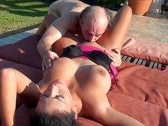 Jamie Valentine being fucked in her mouth by an old fart