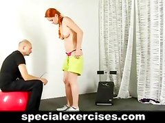 Nude training for sexy redhead babe
