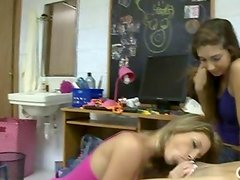 Lucky teen students share cock