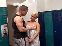Horny blonde girl gets fucked hard in the gym by her instructor