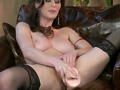 Nasty sweet Just Amber enjoys a huge fat dildo in all her fucking holes!