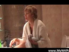 Slutty blond MILF sucking boner and getting cunt fucked while taking a bath after skating